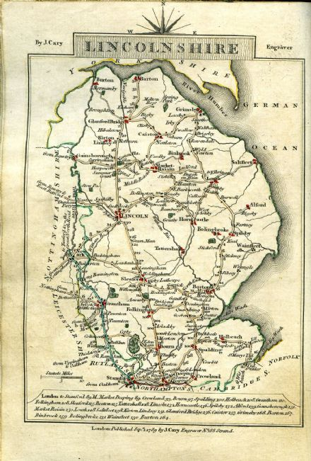 Lincolnshire County Map by John Cary 1790 - Reproduction